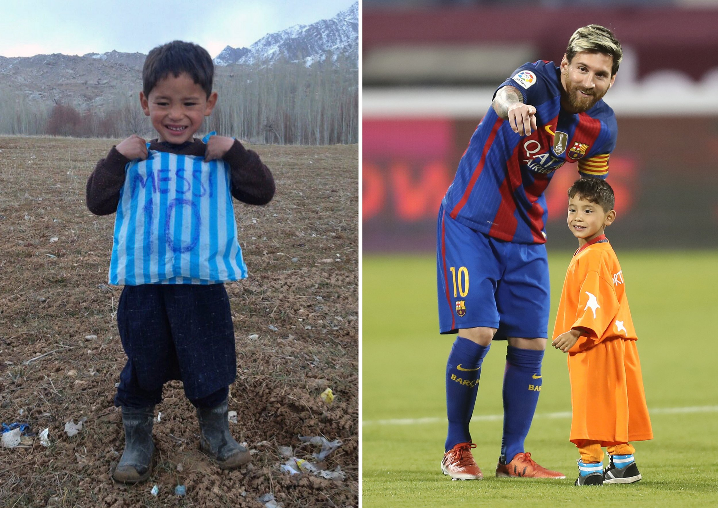 Boy who wore plastic bag to look like Messi forced to flee home by Taliban