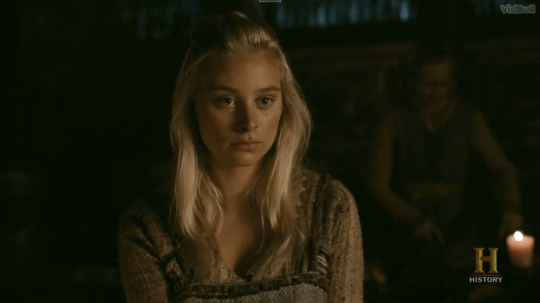 Caption: Picture: History Viking star breaks down in tears as she watches back character death in Season 5B latest episode