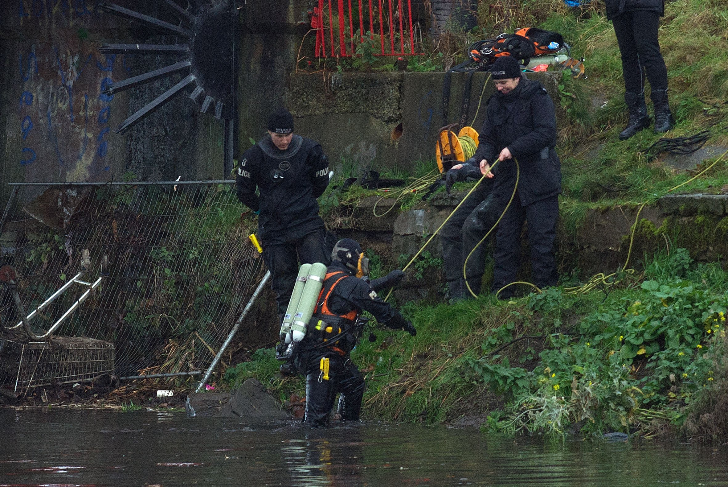 The scene in the river Irwell where some body parts have been found police divers are in the water - A human leg found in the River Irwell is that of a missing Marie Scott it has been confirmed. Mum-of-two Marie, 58, hadn't been seen since she walked out of the family home in Hale , near Altrincham in Trafford, just before last Christmas.The remains were found in the River at the end of last month when they were spotted by a passer-by who raised the alarm. Specialist underwater teams spent hours combing an area of the river near the Jubilee Bridge, off Britannia Street. And following forensic examination it was found to be a human leg, GMP said today. DNA testing has confirmed that the leg belongs to Marie , who was reported missing from her home in Hale on Monday 18 December 2017.