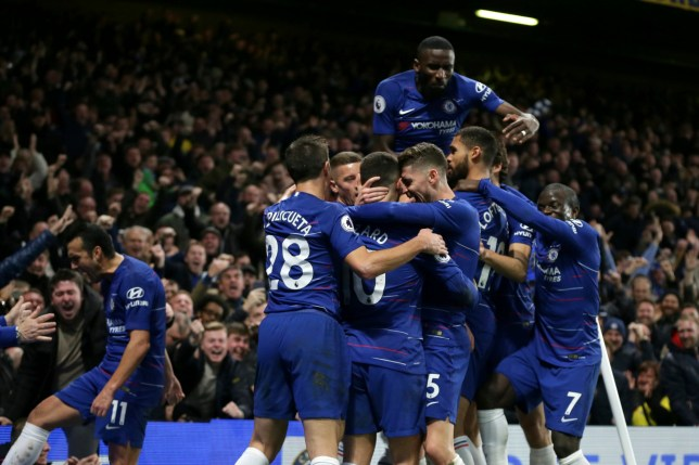 Chelsea's David Luiz, left, celebrates with his teammates after scoring his side's second goal during the English Premier League soccer match between Chelsea and Manchester City at Stamford Bridge in London, Saturday Dec. 8, 2018. (AP Photo/Tim Ireland)