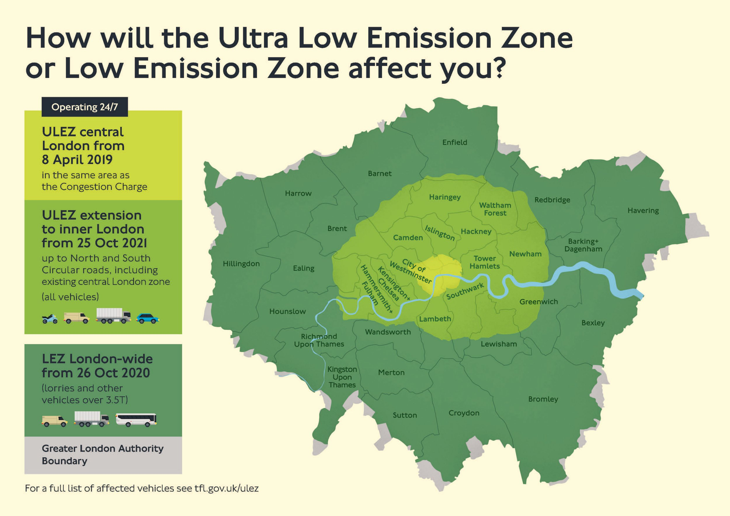 ULEZ boundary 2019-2021 (Graphic: TFL) The Ultra Low Emission Zone (ULEZ) will replace the T-Charge from 8 April 2019. It will operate 24 hours a day, 7 days a week, every day of the year, within the same area as the current Congestion Charging Zone (CCZ). From 25 October 2021 the area will expand to the inner London area bounded by the North and South Circular roads.