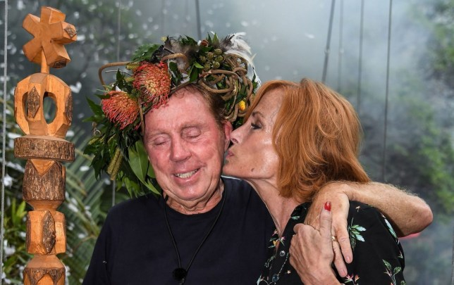 Editorial use only Mandatory Credit: Photo by James Gourley/ITV/REX (10019593q) Harry Redknapp is crowned King of the Jungle and is joined by wife Sandra Redknapp 'I'm a Celebrity... Get Me Out of Here!' TV Show, Series 18, Australia - 09 Dec 2018