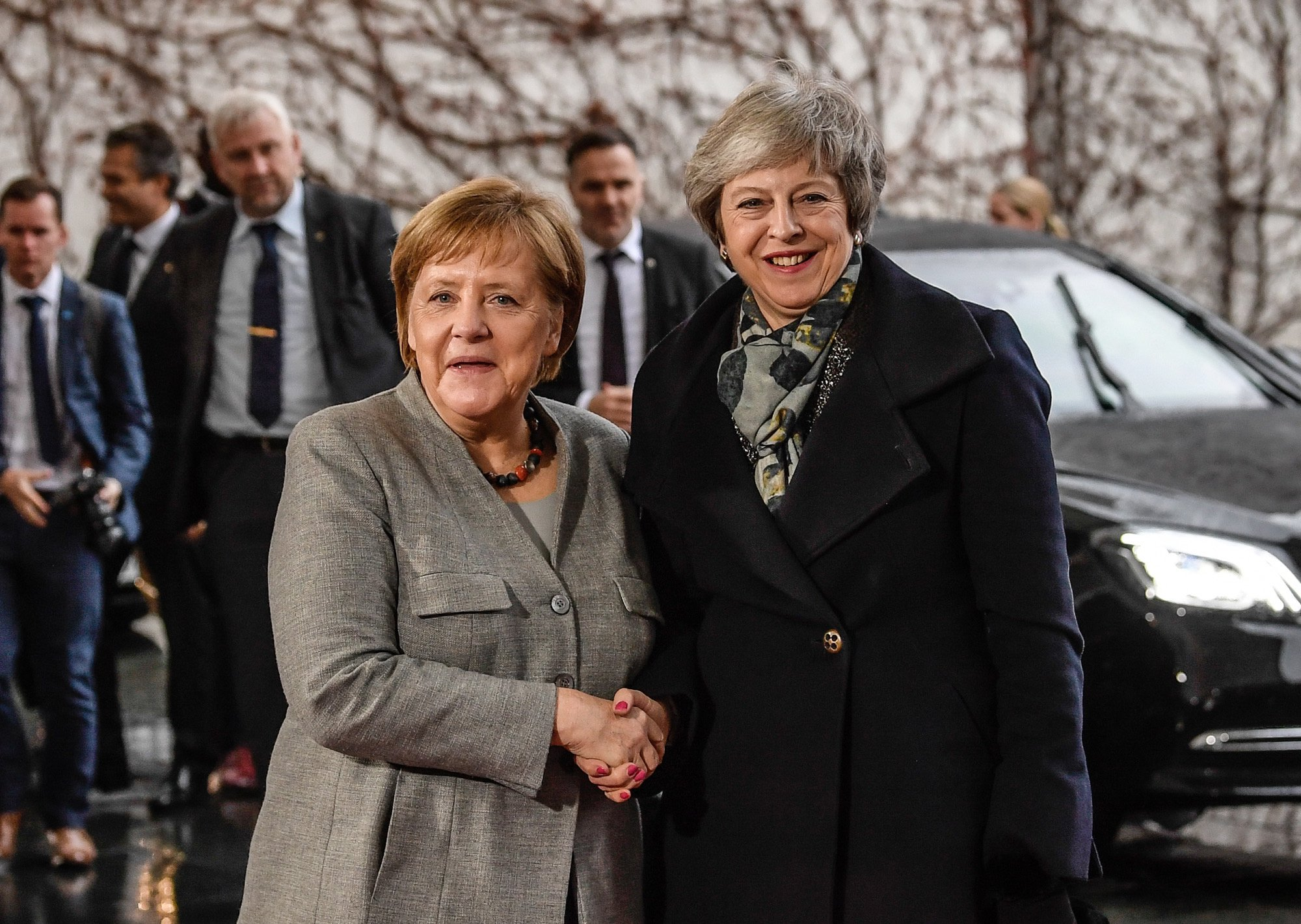 epa07223448 German Chancellor Angela Merkel (R) welcomes British Prime Minister Theresa May (L) at the chancellery in Berlin, Germany, 11 December 2018. British Prime Minister Theresa May postponed the Brexit deal Meaningful Vote, on 11 December 2018 due to risk of rejection from Members of Parliament. Theresa May is currently on a whistle stop tour of Europe calling on the leaders of the Netherlands, Germany and EU in Brussels looking for new guide lines for her Northern Ireland backstop. EPA/FILIP SINGER