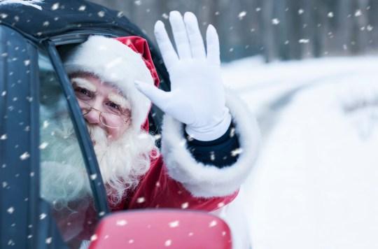 Santa Claus at car