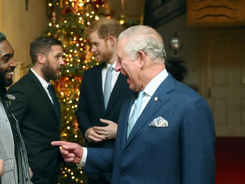 Tom Hardy catches up with his ol' pal Prince Harry as they're third-wheeled by Prince Charles