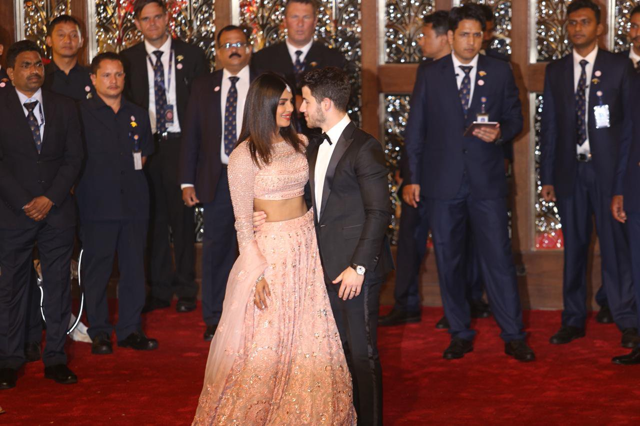 Nick Jonas and Priyanka Chopra seen arriving at the continued wedding celebrations of Nita Ambani daughter of Mukesh Ambani. 12 Dec 2018 Pictured: Nick Jonas and Priyanka Chopra. Photo credit: Newslions Media / MEGA TheMegaAgency.com +1 888 505 6342