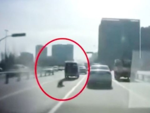 Toddler falls out of car into path of other vehicles after door opens suddenly