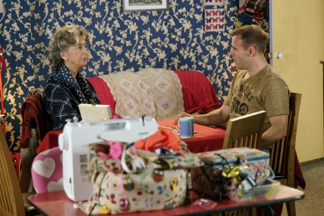 Tyrone Dobbs and his grandmother Evelyn Plummer in Coronation Street