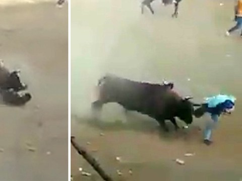 Man knocked to ground and repeatedly gored during bullfighting festival