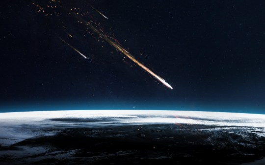 Meteor shower. Elements of this image furnished by NASA; Shutterstock ID 522119488; Purchase Order: -