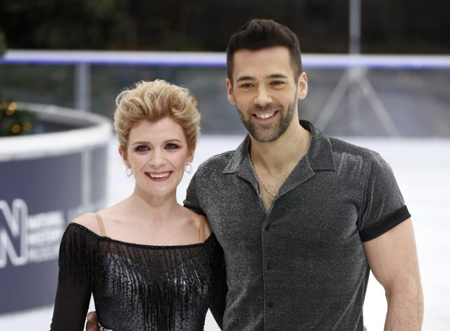 LONDON, ENGLAND - DECEMBER 18: Jane Danson and Sylvain Longchambon during a photocall for the new series of Dancing On Ice at the Natural History Museum Ice Rink on December 18, 2018 in London, England. (Photo by John Phillips/Getty Images)