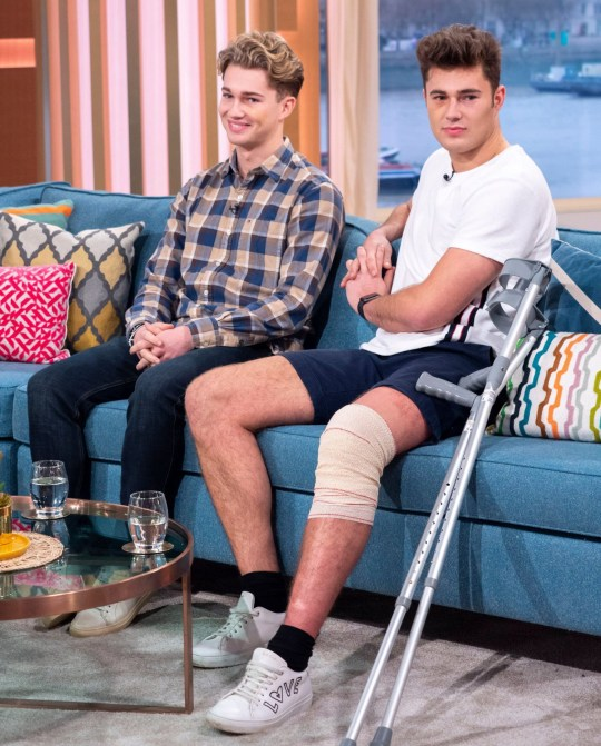 Editorial use only Mandatory Credit: Photo by Ken McKay/ITV/REX (10044998x) AJ Pritchard and Curtis Pritchard 'This Morning' TV show, London, UK - 02 Jan 2019 STRICTLY'S AJ PRITCHARD: 'MY BROTHER SAVED MY LIFE IN HORROR ATTACK' He?s used to lighting up the floor on Strictly, but this Christmas professional dancer AJ Pritchard and his brother Curtis were involved in a horrific attack at a nightclub in Cheshire. Curtis, also a dancer, has also been forced to pull out of the Irish version of Dancing With The Stars, and AJ says that had his brother not acted, he could have been killed. The brothers join us to share their story, and why the attack left them too scared to go out on New Year's Eve.