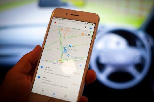 A mobile phone with the Google Maps application is seen in this photo illustration on September 18, 2018. Google is set to partner with the worlds largest car manufacturing group Renault-Nissan-Mistubishi to provide its Android operating system for media screens in their vehicles. (Photo by Jaap Arriens/NurPhoto via Getty Images)