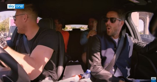 Jamie Redknapp and Freddie Flintoff were joined by Alan Carr and Kevin Pietersen for A League Of Their Own (Picture: Sky One)