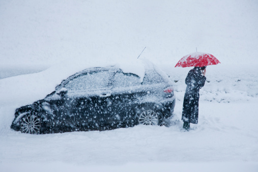 A car stuck in the snow
