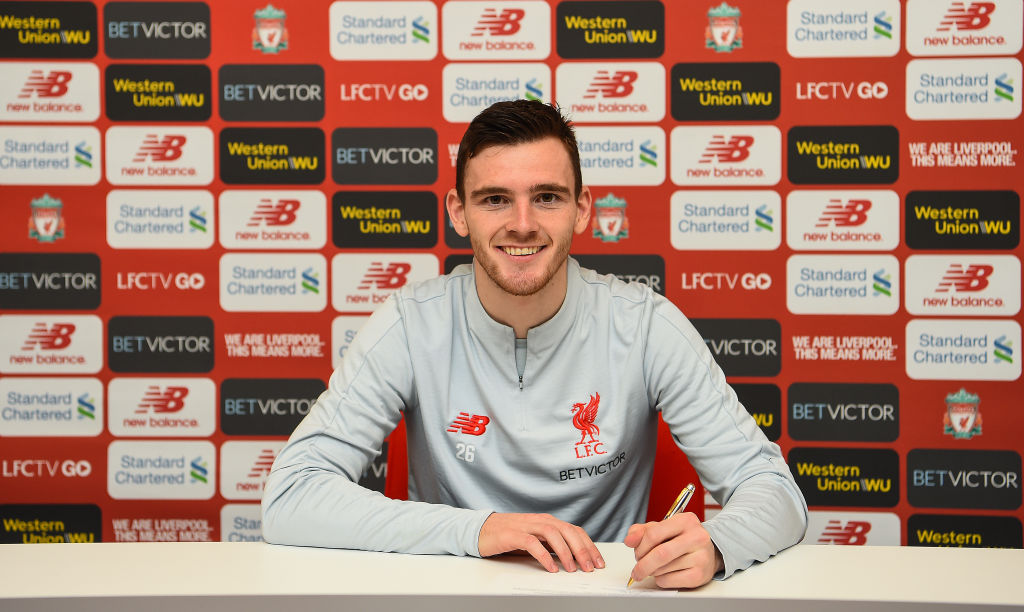 Jurgen Klopp reacts after Andy Robertson signs new Liverpool contract