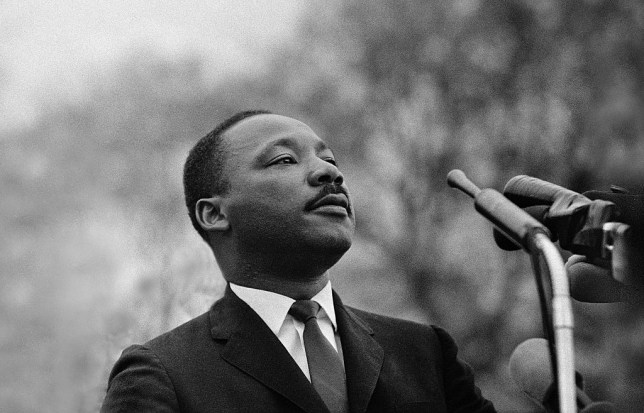 Dr. Martin Luther King, Jr. speaking before crowd of 25,000 Selma To Montgomery