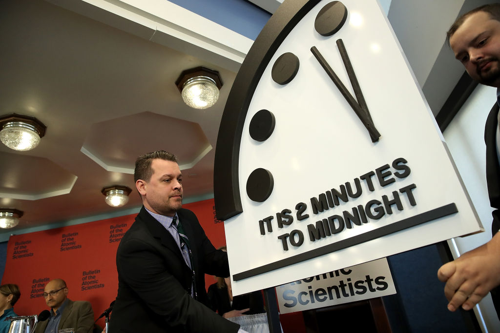 What does it mean when the Doomsday Clock moves closer to midnight?