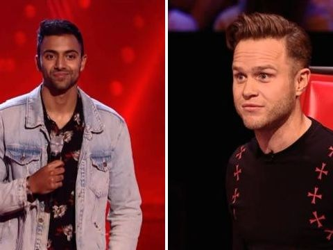 The Voice's Olly Murs vows to give act Stefan Mahendra support slot on his tour – throws Jennifer Hudson's shoes at him