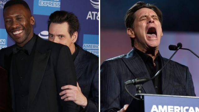 Jim Carrey has no chill as he creeps up on Mahershala Ali at Palm Springs Film Festival