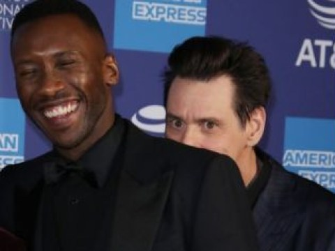 Jim Carrey has no chill as he creeps up on Mahershala Ali at Palm Springs Film Festival