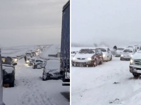Desperate attempt to rescue 100 cars stranded in blizzard