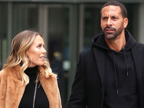 Rio Ferdinand and Kate Wright are all loved up as they leave BBC Studios hand in hand