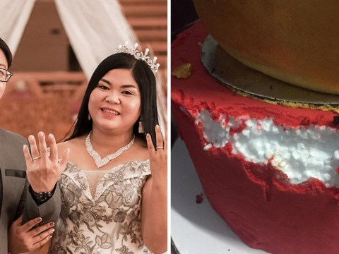 Bride cut into wedding cake to find it was polystyrene covered in icing