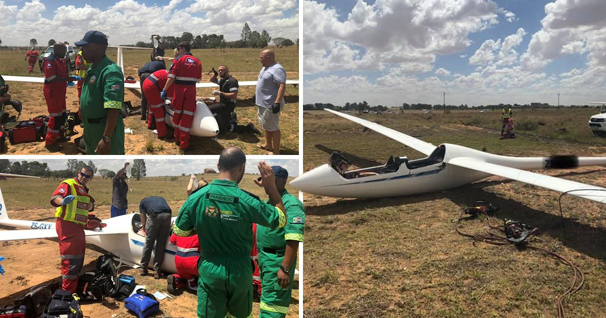 Two British men in critical condition after their glider crashes into fence