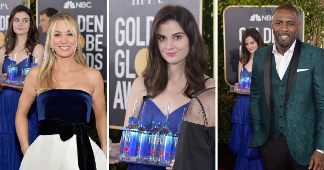 Fiji Water Bottle girl is having her moment on the Golden Globes red carpet