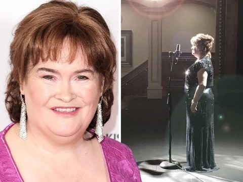 Susan Boyle looks radiant in the spotlight as she prepares for America's Got Talent: The Champions