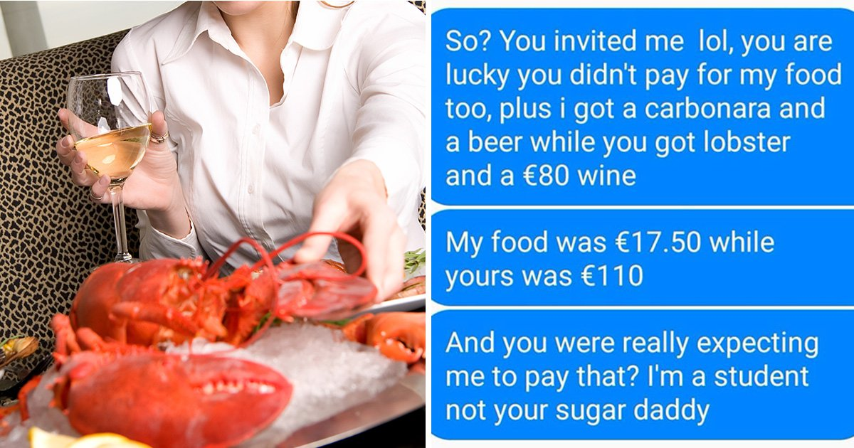 Woman turns down second date with man because he didn't pay for her £99 lobster and wine