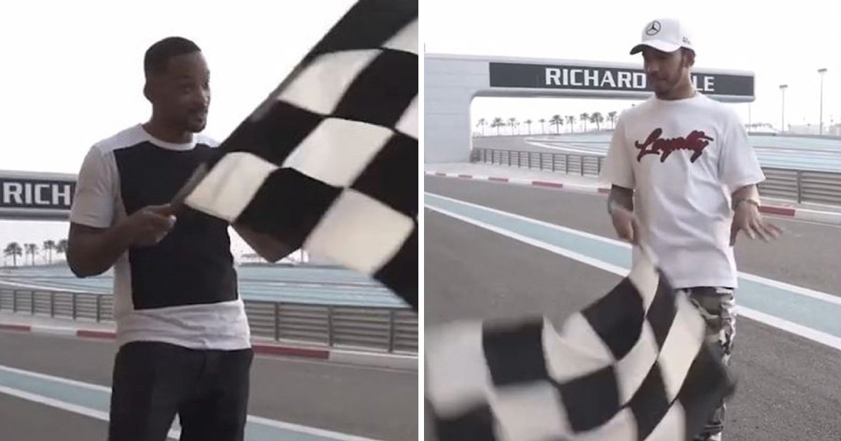 Will Smith teaches Lewis Hamilton the moves to succeed at flag waving