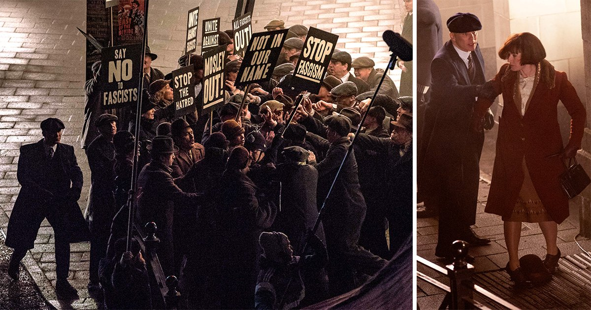 Tommy Shelby caught up in a riot as Peaky Blinders cast film dramatic series 5 scenes