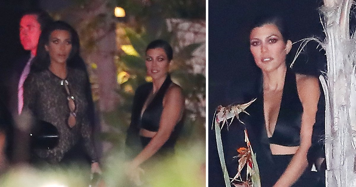 Kourtney Kardashian is our queen in sleek cut-out tuxedo as she hangs with Kim at John Legend's 40th