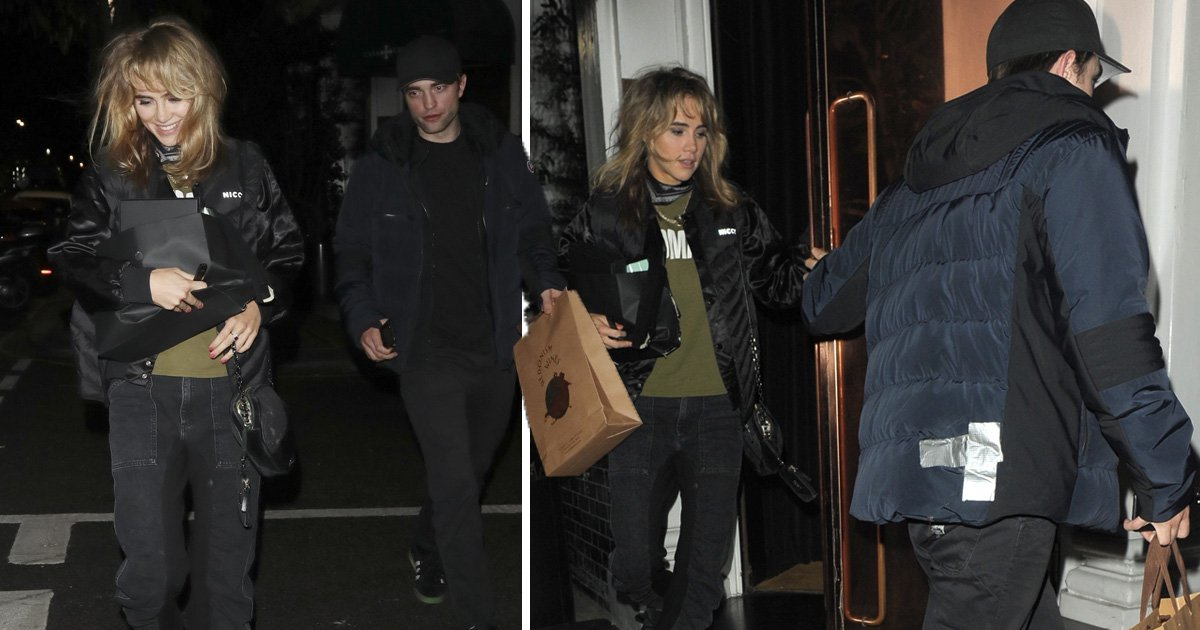 Robert Pattinson appears in need of a new coat as he helps Suki Waterhouse celebrate her birthday