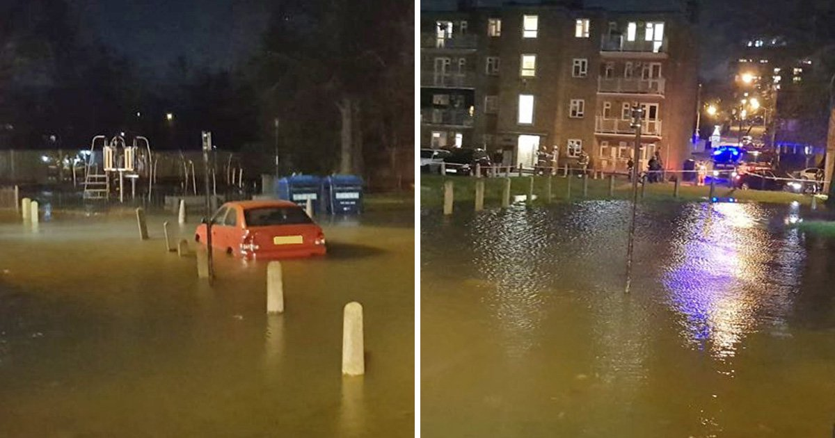 Panic in south London as burst water pipe floods street