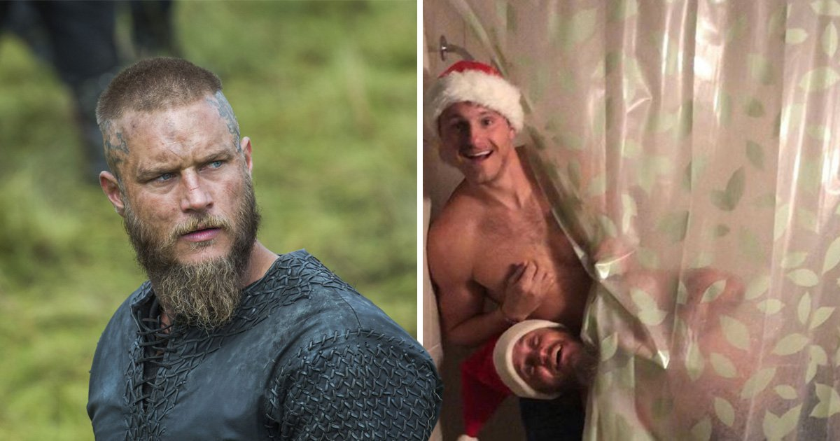 Travis Fimmel enjoys a reunion with Vikings star Alexander Ludwig to go flying over Whistler