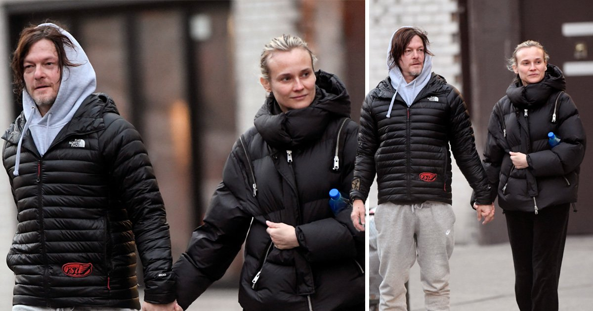 The Walking Dead's Norman Reedus and Diane Kruger walk hand in hand as baby girl stays home