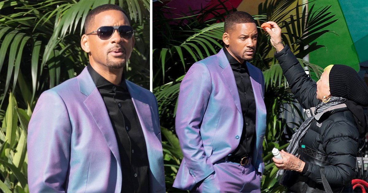 Will Smith braves shiny purple suit on set of Bad Boys 3 and we can't stop staring