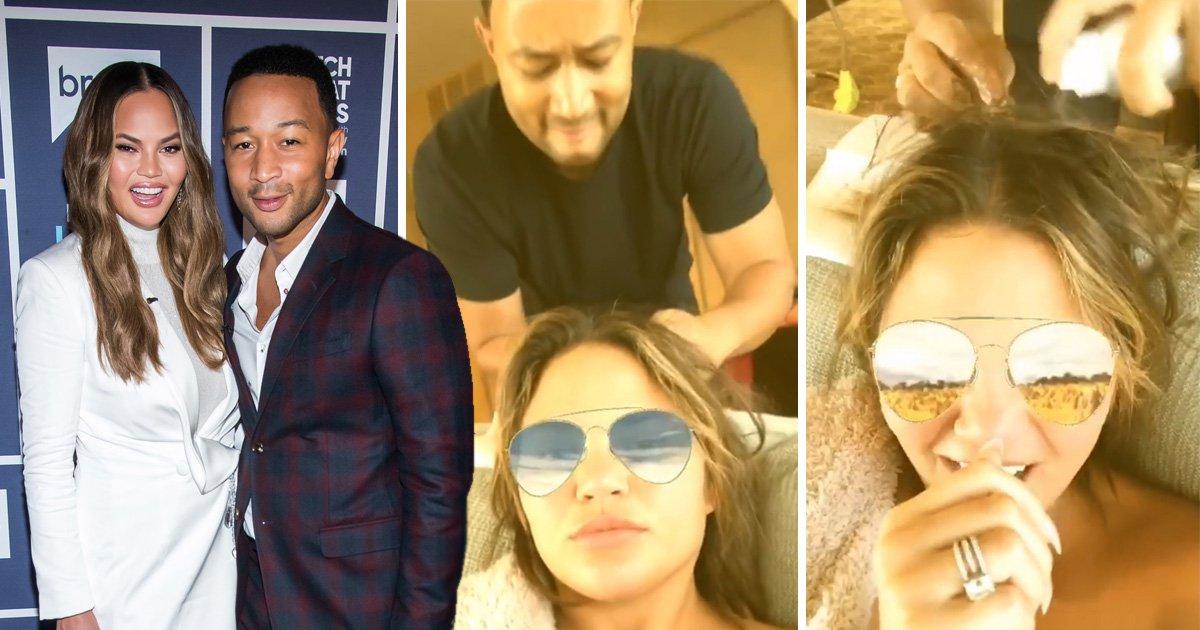 John Legend takes Instagram husband duties to the next level as he untangles Chrissy Teigen's ponytail