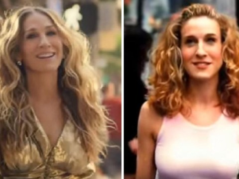 Sarah Jessica Parker is back in Carrie's Manolos as she recreates Sex and the City opening credits