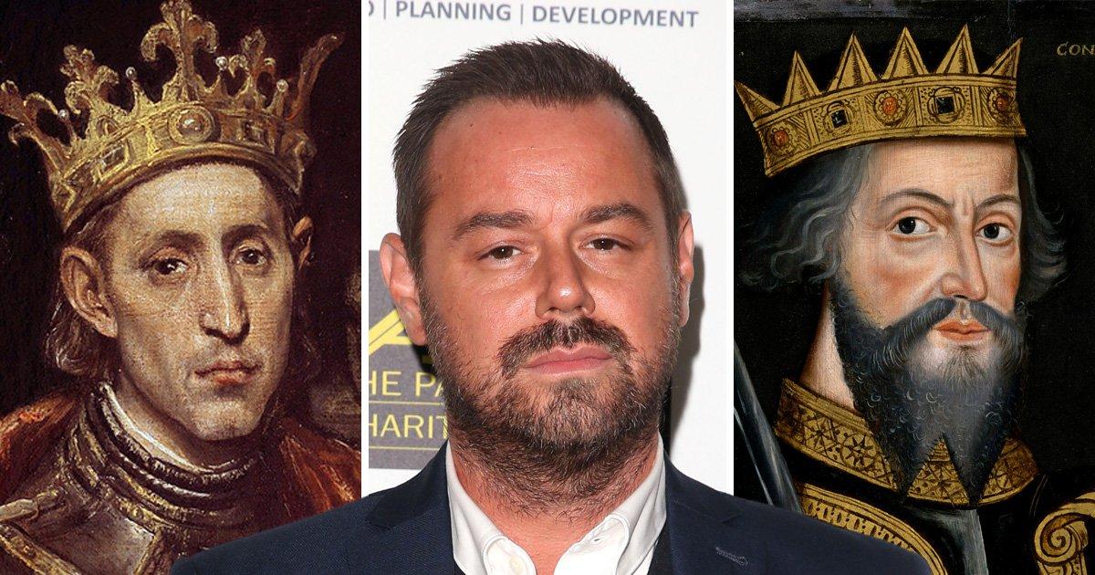 Danny Dyer alongside his royal ancestors King Luis IX and William the Conqueror.
