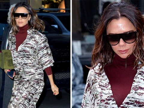 Victoria Beckham proves fashion isn't all that glamorous as she gets dressed in a cupboard