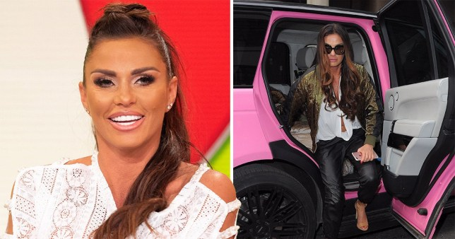 Katie Price getting out of her famous pink Barbie Jeep