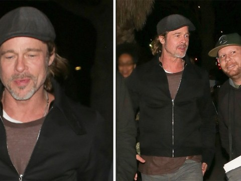 Brad Pitt lives his best single life on lads' night out after Charlize Theron romance rumours are denied