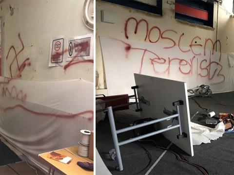 Racist vandals draw swastikas and write 'moslem terrorists' inside Islamic school