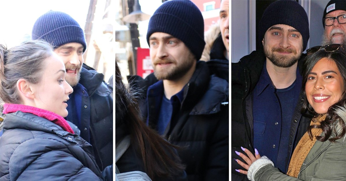 Daniel Radcliffe defies the cold to take selfies with fans during Sundance Film Festival