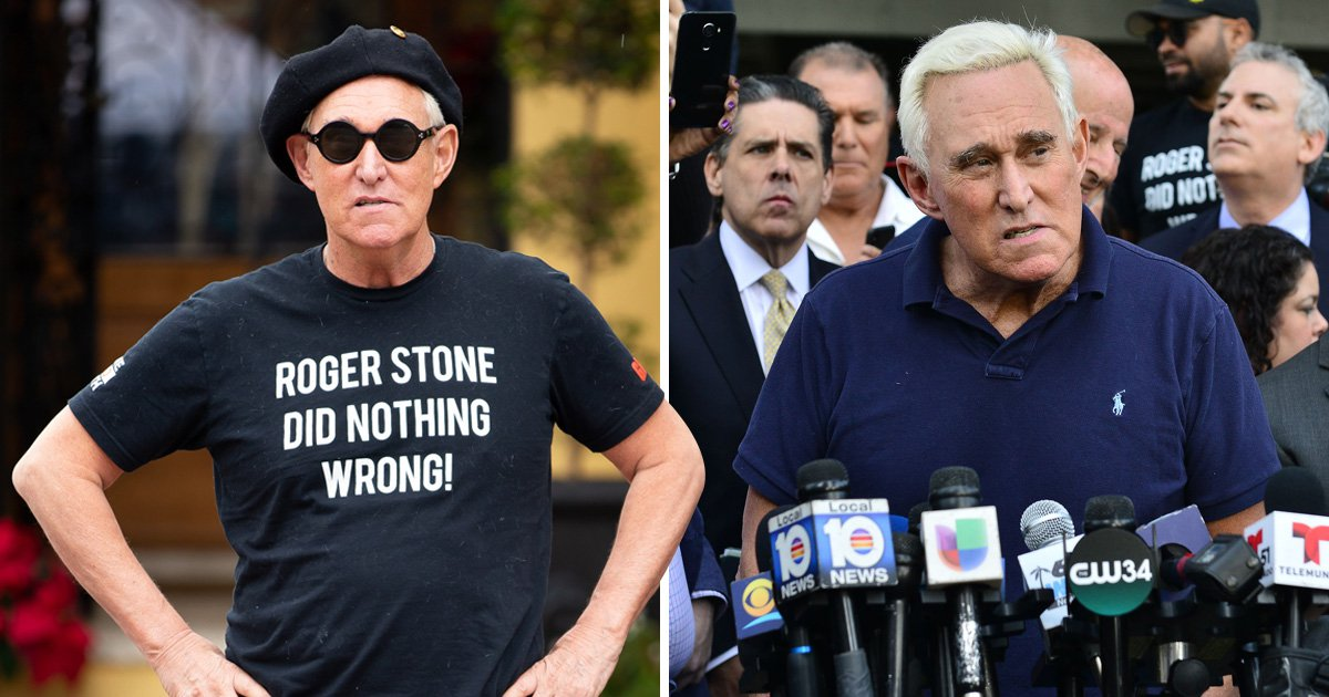 Ex-Trump advisor Roger Stone wears t-shirt saying 'Roger Stone did nothing wrong'