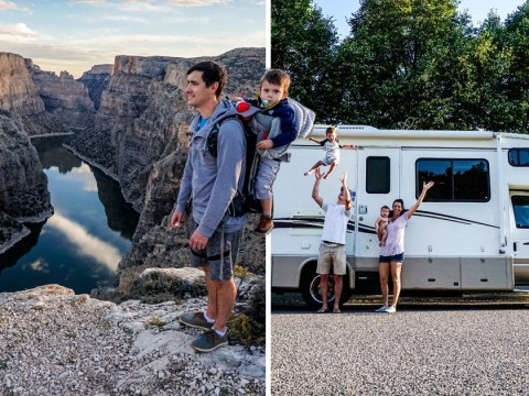 Couple trek across all 50 states with their kids strapped to them in slings